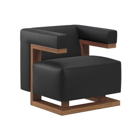 Tecta F51 Gropius in zwart leder met notenhouten frame