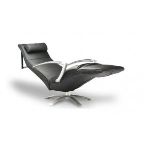 leder lipano black : relaxfauteuil standaard zithoogte 46cm + elliptisch hoofdkussen