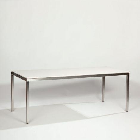 200 x 90 x 75 cm, Keramiek wit verjongd, Frame (40 x 40 mm) in RVS