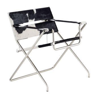 Tecta D4 opvouwbare stoel Marcel Breuer koeienhuid zwart wit